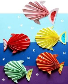 Balık yapımı, etkinlikleri çalışmaları kalıplı kağıt el işleri çalışması ve örnekleri etkinliği. Preschool activities craft site.
