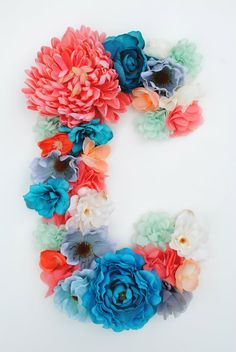 "Custom 13 1/2"" Floral Letter // Nursery decor, Birthday party decor, photo prop"
