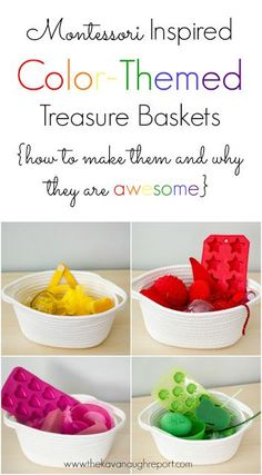 Treasure Baskets for Toddlers Montessori inspired Color Themed Treasure Baskets for Toddlers -- how to make them and why they are awesome.Montessori inspired Color Themed Treasure Baskets for Toddlers -- how to make them and why they are awesome. Montessori Color, Montessori Education, Montessori Classroom, Montessori Materials, Toddler Play, Montessori Activities, Montessori Preschool, Infant Activities, Baby Play