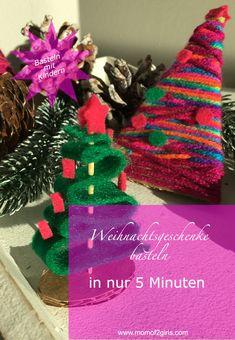 DIY Weihnachtsgeschenke selber basteln, personalisierte Christbaumkugel aus Foto selber machen, Christbaum aus Filz oder Wolle selbermachen, schnelle und einfache, kreative Bastelidee zu Weihnachten mit Kindern