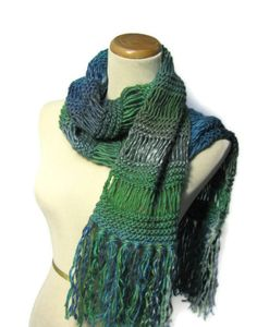 Valentines Day Peacock Hand Knit Scarf  by ArlenesBoutique on Etsy, $55.00