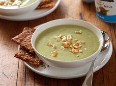 Roasted Garlic Avocado Soup w/Herbed Yogurt Crackers (vegan)