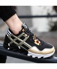 Men's #pattern print casual lace up shoe #sneakers, leisure, sport occasions, breathable, Round toe design.