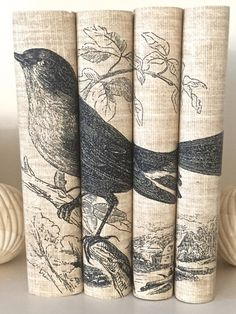 Decorative books  Bird Book Cover  Neutral Color by ArtfulLibrary