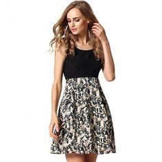 Stylish Lady Women's Fashion Casual O Neck High Waist Backless Mini Dress Sexy Patchwork Pleated Sundress