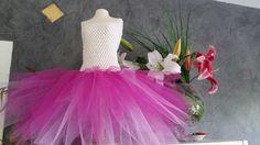 Robe tutu crochet et tulle rose : Mode filles par petite-abeille-creations