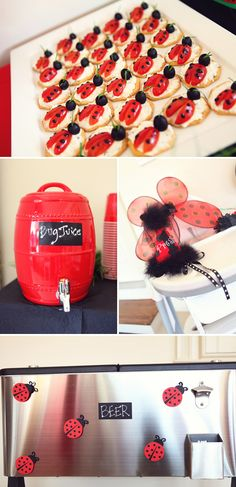 41 Trendy Baby Shower Ideas For Girls Food Appetizers Lady Bug First Birthday Parties, Girl Birthday, First Birthdays, Birthday Ideas, Antipasto, Trendy Baby, Bug Juice, Ladybug Party, Party Planning