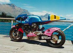 "John Britten Motorcycle with the ""Remarkables"", Queenstown, NZ"