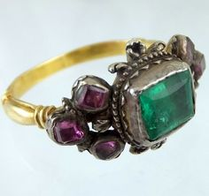 Late seventeenth century gold ring with emerald and rubies. Probably Italian ca 1690 Measurements of bezel:8 x 6.6 mm