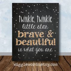 Twinkle Twinkle Nursery Decor, Gold Twinkle Twinkle Little Star Nursery Art, Chalkboard Sign Wall Decor, Personalized Digital File