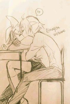 This drawing doesn't belong to me Miku Chibi, Hatsune Miku, Anime Love Couple, Cute Anime Couples, Anime Demon, Manga Anime, Manga Romance, Len Y Rin, Image Couple