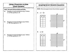 6th-8th Grade Math Learning Activity: Direct Variation ...