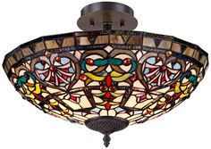 "$249.99, Cherry Heart 18"" W x 13""H, Red cherries and a bronze heart motif  Tiffany Style Glass Ceiling Light - takes 2 - 60W bulbs - It extends too low, but I love it!"