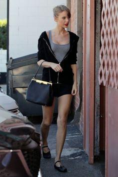 Taylor Swift wearing Capezio Daisy Ballet Shoe in Black Dolce & Gabbana Spring 2014 bag