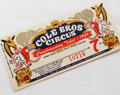 One 1 Large Vintage Circus Ticket 1 Old by LisasCraftShoppe