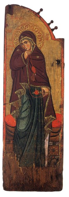 Virgin Mary of the Annunciation. c. 1200. Icon on a sanctuary gate. Vatopedi monastery, Mt Athos, Greece.