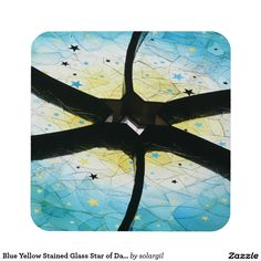 Blue Yellow Stained Glass Star of David Coasters