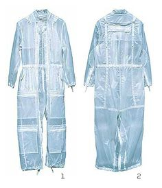 """2000 SWEATSUIT White sweatsuit in """"Cristal Wind"""", windproof and rainproof light rubberised runproof nylon mesh. Through zippers the sweatsuit can be transformed into a long trench coat. Textiles, Deconstruction Fashion, Island Shirts, Mens Activewear, Raincoats For Women, Rain Wear, Outdoor Outfit, Work Wear, Sportswear"""