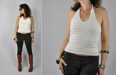 Mexican Halter Top Ivory Cotton Crop Top Festival by LaDeaDeiSogni