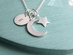 Personalized Moon Star Necklace from JKW Jewellery by DaWanda.com