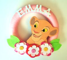 Childrens Room Personalized Lion King Nala Yarn Wreath on Etsy, $35.99