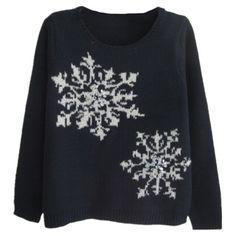 Womens Reindeer Snowflake Ugly Christmas Sweater Navy Blue ($27 ...