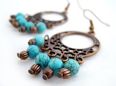 Turquoise Maiden Chandelier Earrings by OohlalaBeadtique on Etsy, $17.00