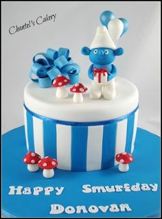 Smurf Birthday cake By sweet-delights on CakeCentral.com