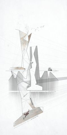 """Tunnel Exhaust #2 Andrew McGee 2012, Mixed Media, 18"""" x 36"""" Architecture Art Nouveau, Paper Architecture, Architecture Graphics, Architecture Drawings, Architecture Details, Badass Drawings, Model Sketch, Mermaid Drawings, Photoshop"""