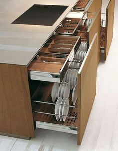 Large storage capacity for these kitchen drawers - Interior - . - Large storage capacity for these kitchen drawers – Interior – one # kitc - Diy Kitchen Storage, Kitchen Drawers, Kitchen Sets, Home Decor Kitchen, Interior Design Kitchen, Kitchen Organization, Organization Ideas, Organized Kitchen, Storage Room