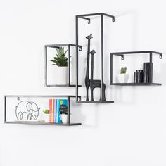 Got a lot of decor waiting to outshine your place? Bring home this floating shelf. The artsy tall fr Cube Shelves, Floating Wall Shelves, Wall Mounted Shelves, Solid Wood Shelves, Metal Shelves, Massive Holzregale, Pine Walls, Wall Installation, Wood Surface