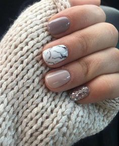 - neutral nails with accent ~ neutral nails . neutral nails with sparkle . neutral nails with accent . neutral nails for pale skin . Manicure Gel, Fall Gel Nails, Short Gel Nails, Short Nails Art, Manicure Ideas, Gel Shellac Nails, Gel Manicures, Cute Short Nails, Accent Nail Designs