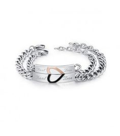 Fél szív mintás karkötő szett pároknak, nemesacélból - Real Love Paros, Bracelets, Silver, Jewelry, Fashion, Moda, Jewlery, Jewerly, Fashion Styles