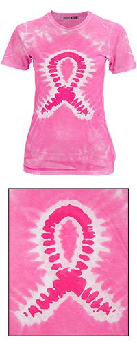 Now $16 for a Tie Dye Pink Ribbon Sublimation Tee. Helps fund mammograms for woman in need through The Breast Cancer Site.