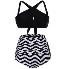 Black Cross Front Bikini Zigzag High Waist Swimsuit (€16) ❤ liked on Polyvore featuring swimwear, bikinis, bikini swimsuit, vintage swimsuits, striped bikini top, sexy bathing suits and high waisted swim suit