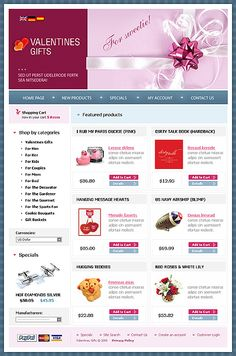 Valentine Store osCommerce Templates by Delta