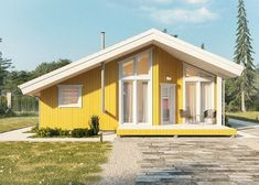 Каркасный дом 114.39 кв. метров Bungalow House Design, House In The Woods, Tiny House, Shed, Loft, Farmhouse, Outdoor Structures, Warm, Quick Garden