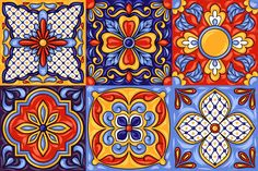 Mexican talavera ceramic tile by incomible on Graphic Patterns, Tile Patterns, Pattern Art, Italian Pattern, Mexican Pattern, Mayan Symbols, Viking Symbols, Egyptian Symbols, Viking Runes