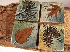 Backsplash Accent Ceramic Tile kitchen bath Rustic Cabin bungalow tree leaves and larger options from Etsy. Ceramic Pottery, Ceramic Art, Cerámica Ideas, Inspiration Artistique, Hand Built Pottery, Clay Tiles, Ceramics Tile, Handmade Pottery, Handmade Ceramic