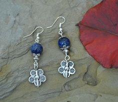 Lapis Lazuli Earrings, Flower Silver Earrings, Drop, Dangle, Boho Earrings (E84) by LKArtChic on Etsy