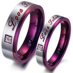 """1pc Purple Stainless Steel Couple's Wedding Rings Fashion CZ Enagement Ring For Women Men Jewelry """"Love Token"""" Band"""