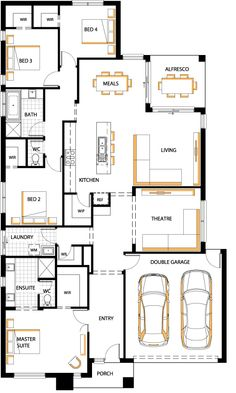 Carlisle Homes Cambridge 26 Swap theatre to Formal living with wet bar, bigger dining Small House Design, Dream Home Design, Home Design Plans, Dream House Plans, House Floor Plans, Carlisle Homes, Autocad, Villa Plan, I Love House