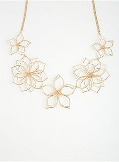 """Look out, your accessories are coming to life! This shorter gold tone chain statement necklace goes 3D (without the glasses) with tactile wire floral pendants.<div><ul><li style=""""list-style-position: inside !important; list-style-type: disc !important"""">Lobster clasp</li><li style=""""list-style-position: inside !important; list-style-type: disc !important"""">19"""" long with 5"""" extender</li><li style=""""list-style-position: inside !important; list-style-type: disc !important"""">Base metals</li><li…"""