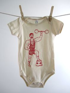 Organic Onesie - Hand Screen Printed American Apparel Baby Onesie - Vintage Circus Strong Man (You pick size). $14.00, via Etsy.