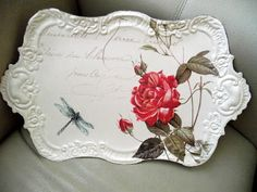 Painted and decal silver platter- great idea!