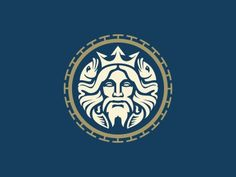 I made a few logos with faces of Greek gods. Two fishes interwoven in his hair and trident crown hopefully indicate Triton's daddy.