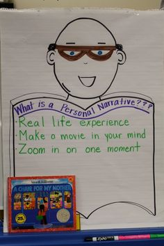"Poster defining what a personal narrative is...we don't call it a ""personal narrative"" at K, but good for reviewing that whole ""small moment"" bit..."