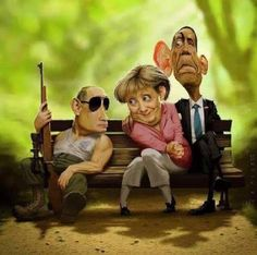 political situation these days, Putin, Merkel Obama Funny Walmart Pictures, Funny Cartoon Pictures, Funny Photos, Random Pictures, Funny Caricatures, Celebrity Caricatures, Satire, Funny Cartoons, Funny Jokes