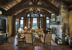 Eclectic Living Room with Stone Fireplace