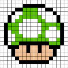 Hama perler Grøn Mushroom Design (ekstra liv) Mario Bros
